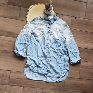 Anthro Cloth Stone Chambray Ombre Button down M
